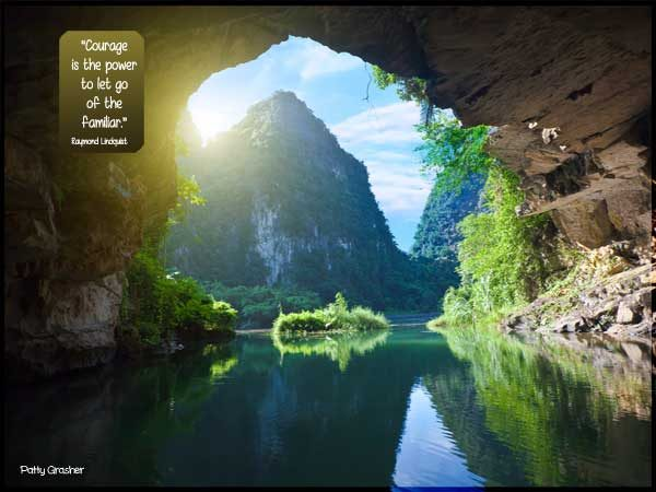 """Motivational quote: """"Courage is the power to let go of the familiar."""" Raymond Lindquist"""
